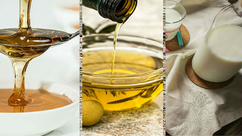 olive oil, honey and milk