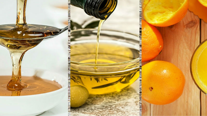 olive oil, honey and orange juice